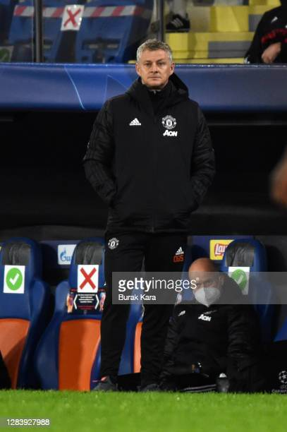 Ole Gunnar Solskjaer, Manager of Manchester United looks on during the UEFA Champions League Group H stage match between Istanbul Basaksehir and...