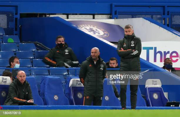Ole Gunnar Solskjaer, Manager of Manchester United looks on during the Premier League match between Chelsea and Manchester United at Stamford Bridge...