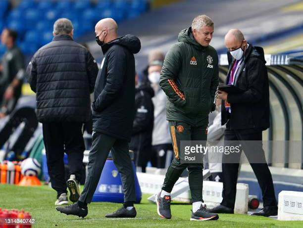 Ole Gunnar Solskjaer, Manager of Manchester United looks on prior to the Premier League match between Leeds United and Manchester United at Elland...