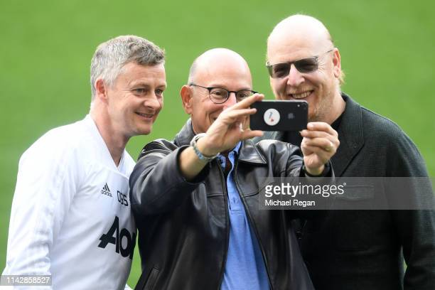 Ole Gunnar Solskjaer, Manager of Manchester United poses for a picture with Avram Glazer , owner of Manchester United prior to a training session...