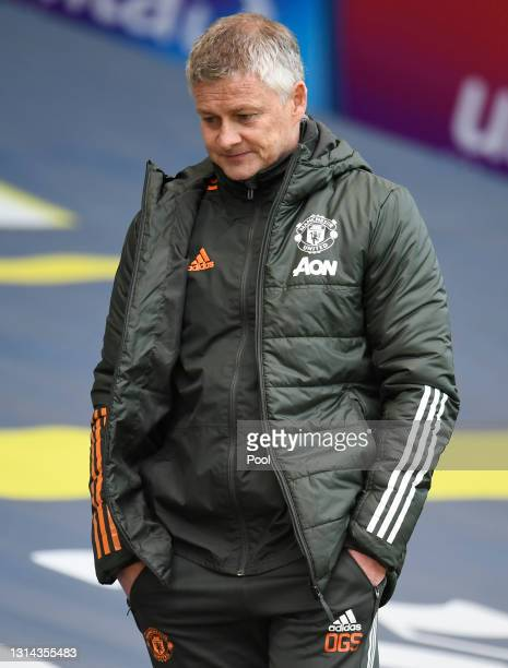 Ole Gunnar Solskjaer, Manager of Manchester United reacts after the Premier League match between Leeds United and Manchester United at Elland Road on...