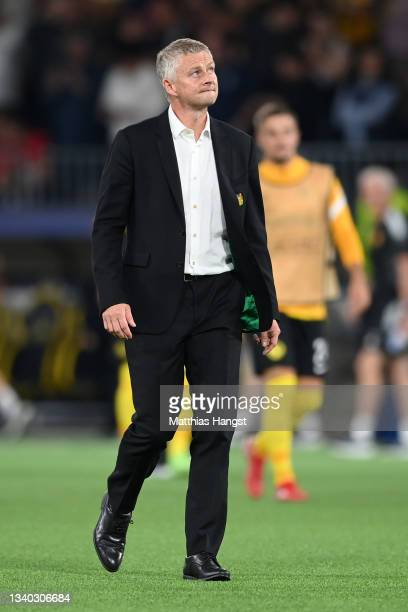 Ole Gunnar Solskjaer, Manager of Manchester United reacts after the UEFA Champions League group F match between BSC Young Boys and Manchester United...