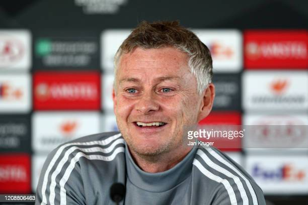 Ole Gunnar Solskjaer, Manager of Manchester United reacts during a press conference ahead of their UEFA Europa League round of 32 second leg match...