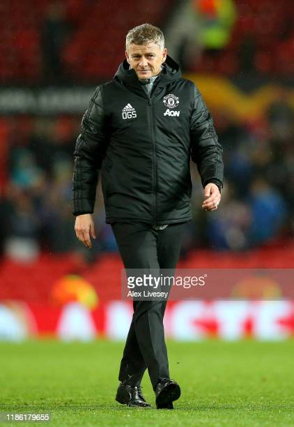 Ole Gunnar Solskjaer, Manager of Manchester United reacts during the UEFA Europa League group L match between Manchester United and Partizan at Old...