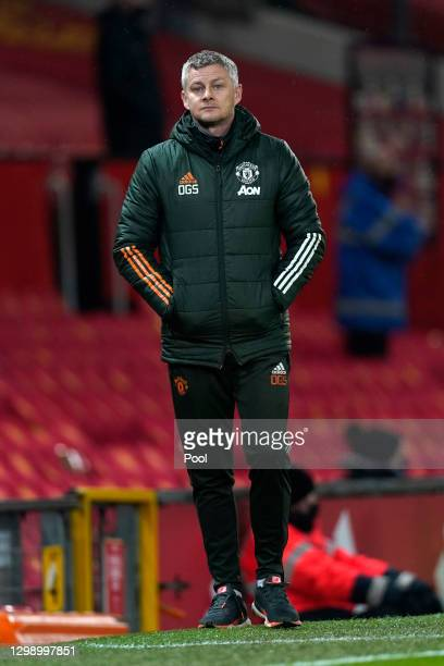 Ole Gunnar Solskjaer, Manager of Manchester United reacts during the Premier League match between Manchester United and Sheffield United at Old...