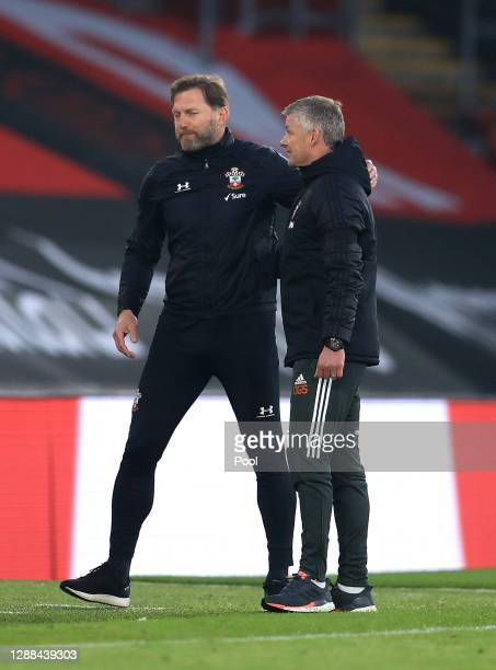 Ole Gunnar Solskjaer Manager of Manchester United talks to Ralph Hasenhuttl Manager of Southampton after the Premier League match between Southampton...