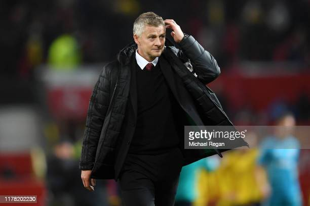 Ole Gunnar Solskjaer Manager of Manchester United walks off the pitch after the Premier League match between Manchester United and Arsenal FC at Old...