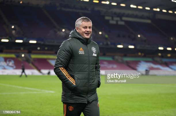 Ole Gunnar Solskjaer, Manager of Manchester United walks on to the pitch to his teams dug out prior to the Premier League match between Burnley and...