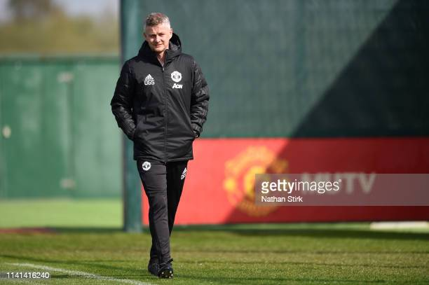 Ole Gunnar Solskjaer Manager of Manchester United walks out prior to the Manchester United training session ahead of the UEFA Champions League...