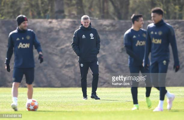 Ole Gunnar Solskjaer Manager of Manchester United watches his team train during the Manchester United training session ahead of the UEFA Champions...