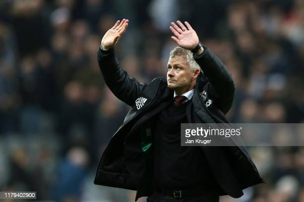 Ole Gunnar Solskjaer Manager of Manchester United waves to the fans at fulltime after the Premier League match between Newcastle United and...