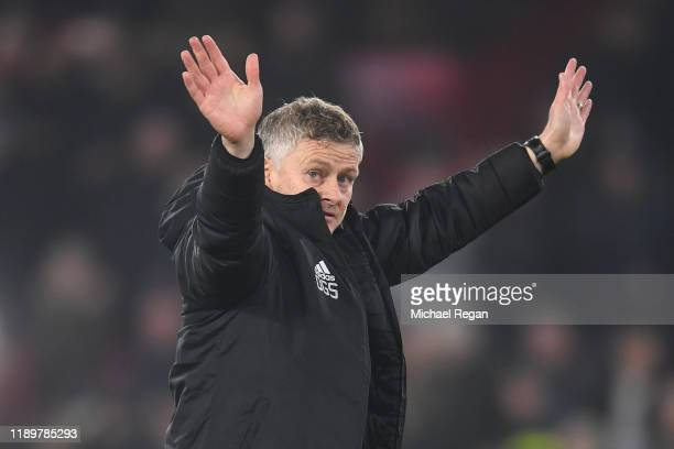 Ole Gunnar Solskjaer Manager of Manchester United waves to the fans following the Premier League match between Sheffield United and Manchester United...