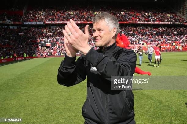 Ole Gunnar Solskjaer of Manchester United '99 Legends acknowledges the fans at the end of the 20 Years Treble Reunion match between Manchester United...