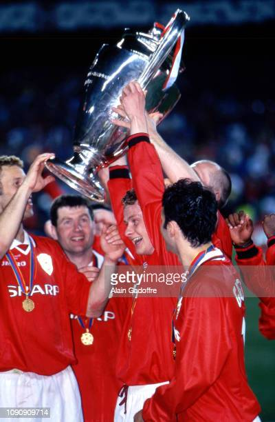 Ole Gunnar Solskjaer of Manchester United celebrate his victory with the trophy during the UEFA Champions league final match between Manchester...