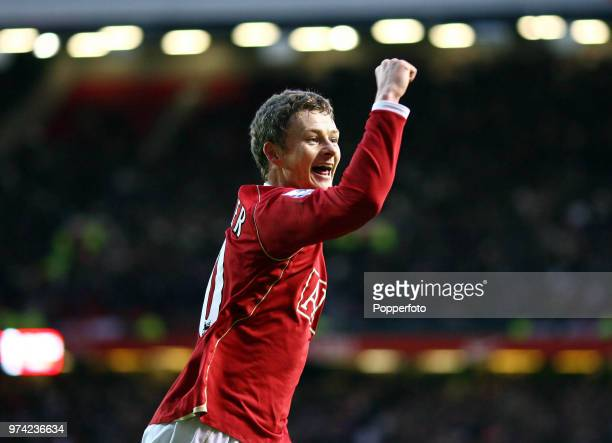 Ole Gunnar Solskjaer of Manchester United celebrates after scoring the winning goal during the FA Cup 3rd Round match between Manchester United and...