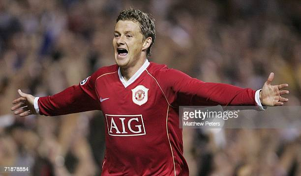 Ole Gunnar Solskjaer of Manchester United celebrates scoring the fifth goal during the UEFA Champions League match between Manchester United and...