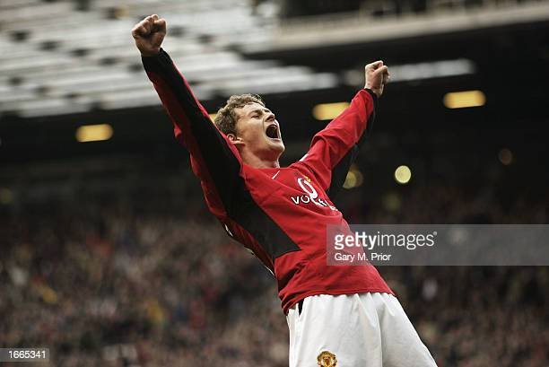Ole Gunnar Solskjaer of Manchester United celebrates the 5th goal during the Manchester United v Newcastle United FA Barclaycard Premiership match at...