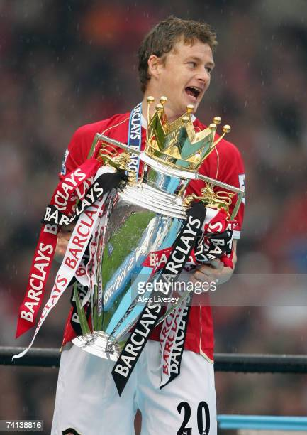 Ole Gunnar Solskjaer of Manchester United celebrates winning the Premiership title with the trophy at the end of the Barclays Premiership match...
