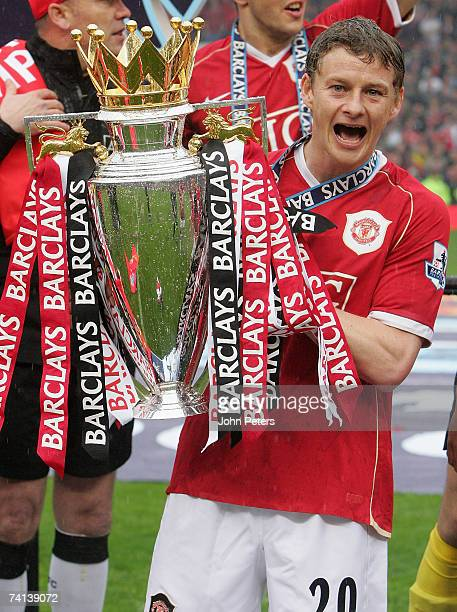 Ole Gunnar Solskjaer of Manchester United celebrates winning the Barclays Premiership after the Barclays Premiership match between Manchester United...