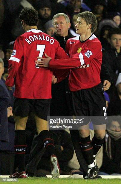 Ole Gunnar Solskjaer of Manchester United comes on as a substitute for his first appearance since May 2004 during the Barclays Premiership match...