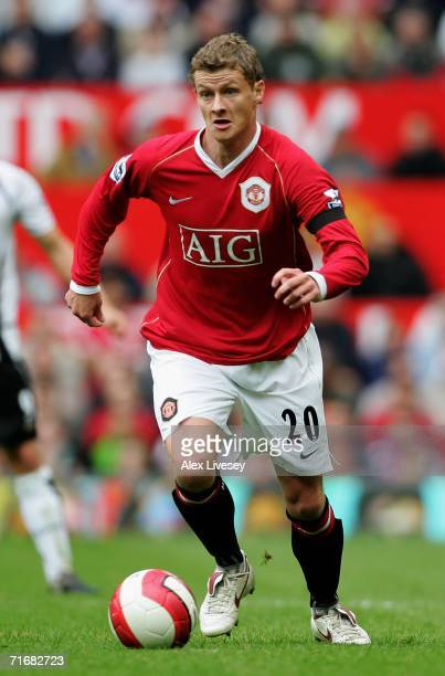 Ole Gunnar Solskjaer of Manchester United in action during the Barclays Premiership match between Manchester United and Fulham at Old Trafford on...