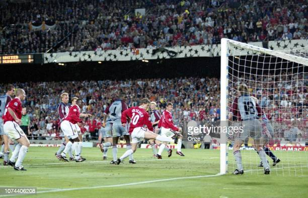 Ole Gunnar Solskjaer of Manchester United score the second and winning goal during the UEFA Champions League Final match between Manchester United...