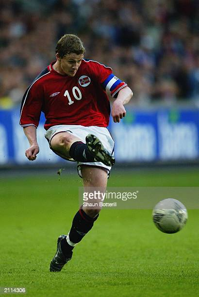 Ole Gunnar Solskjaer of Norway strikes the ball during the European Championship Qualifying Group 2 match between Norway and Romania held on 11 June...