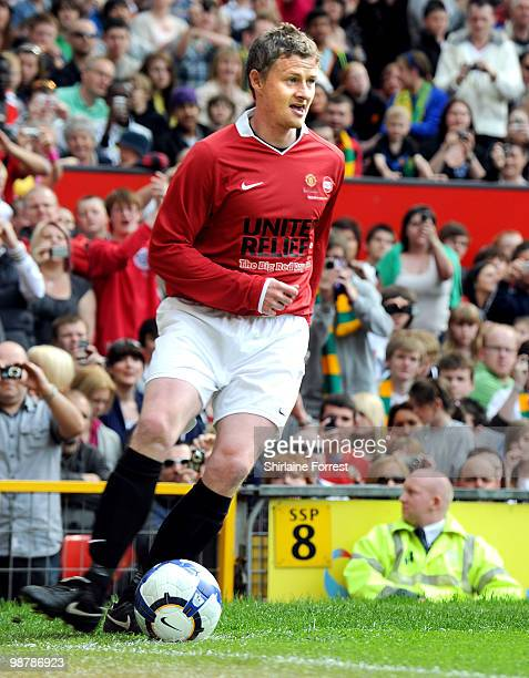 Ole Gunnar Solskjaer plays football at United For Relief The Big Red Family Day Out at Old Trafford on May 1 2010 in Manchester England