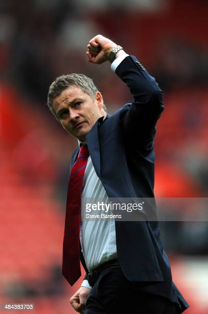 Ole Gunnar Solskjaer the Cardiff manager celebrates following his team's goal during the Barclays Premier League match between Southampton and...