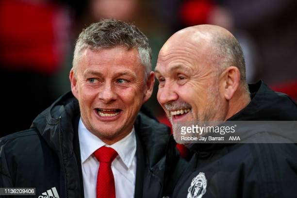 Ole Gunnar Solskjaer the head coach / manager of Manchester United and Mike Phelan the assistant head coach / manager of Manchester United during the...