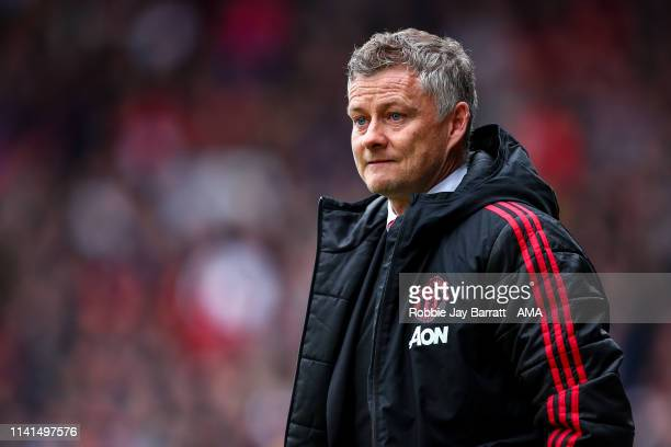 Ole Gunnar Solskjaer the head coach / manager of Manchester United looks on during the Premier League match between Huddersfield Town and Manchester...
