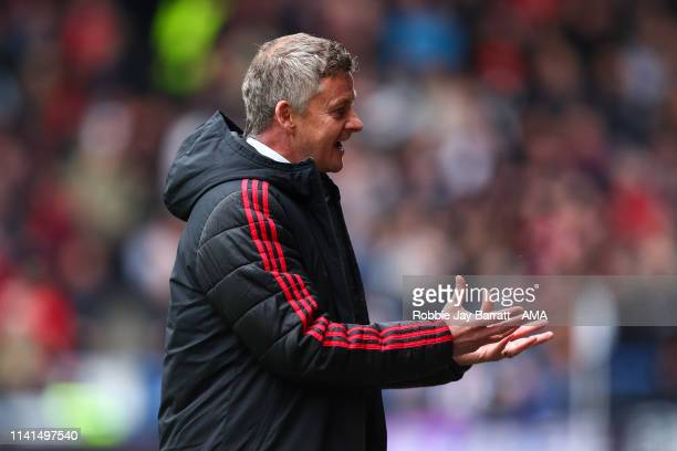 Ole Gunnar Solskjaer the head coach / manager of Manchester United reacts during the Premier League match between Huddersfield Town and Manchester...