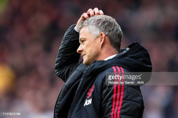 Ole Gunnar Solskjaer the head coach / manager of Manchester United during the Premier League match between Huddersfield Town and Manchester United at...