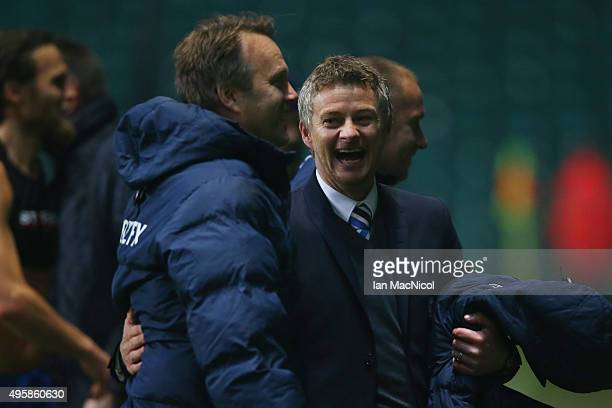 Ole Gunnar Solskjaer the head coach of Molde celebrates his team's 21 victory during the UEFA Europa League Group A match between Celtic FC and Molde...