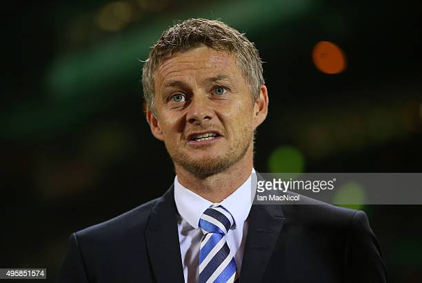 Ole Gunnar Solskjaer the head coach of Molde looks on prior to kickoff during the UEFA Europa League Group A match between Celtic FC and Molde FK at...