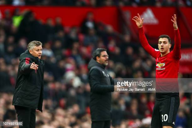 Ole Gunnar Solskjaer the interim head coach / manager of Manchester United during the Premier League match between Manchester United and Huddersfield...