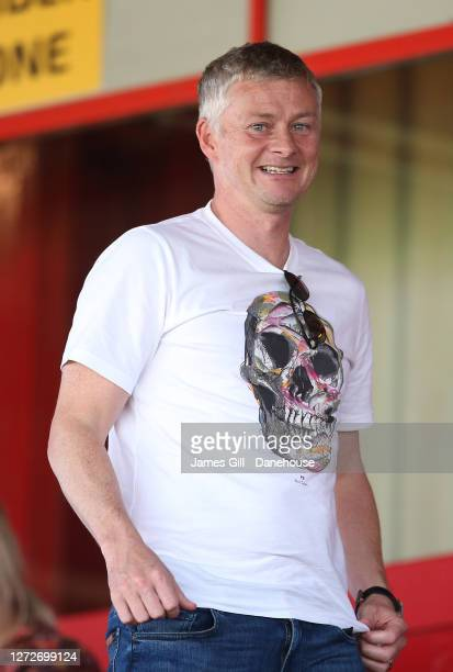 Ole Gunnar Solskjaer the manager of the Manchester United first team watches his daughter Karna Solskjaer play for Manchester United Women U21s...