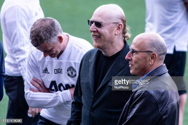 Ole Gunnar Solskjr with Avram Glazer owner of Manchester United during the training session before the second leg Champions League match of Quarter...