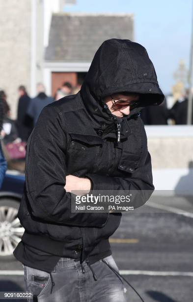 Ole Koretsky leaves following the funeral of his girlfriend and The Cranberries singer Dolores O'Riordan at Saint Ailbe's Church Ballybricken