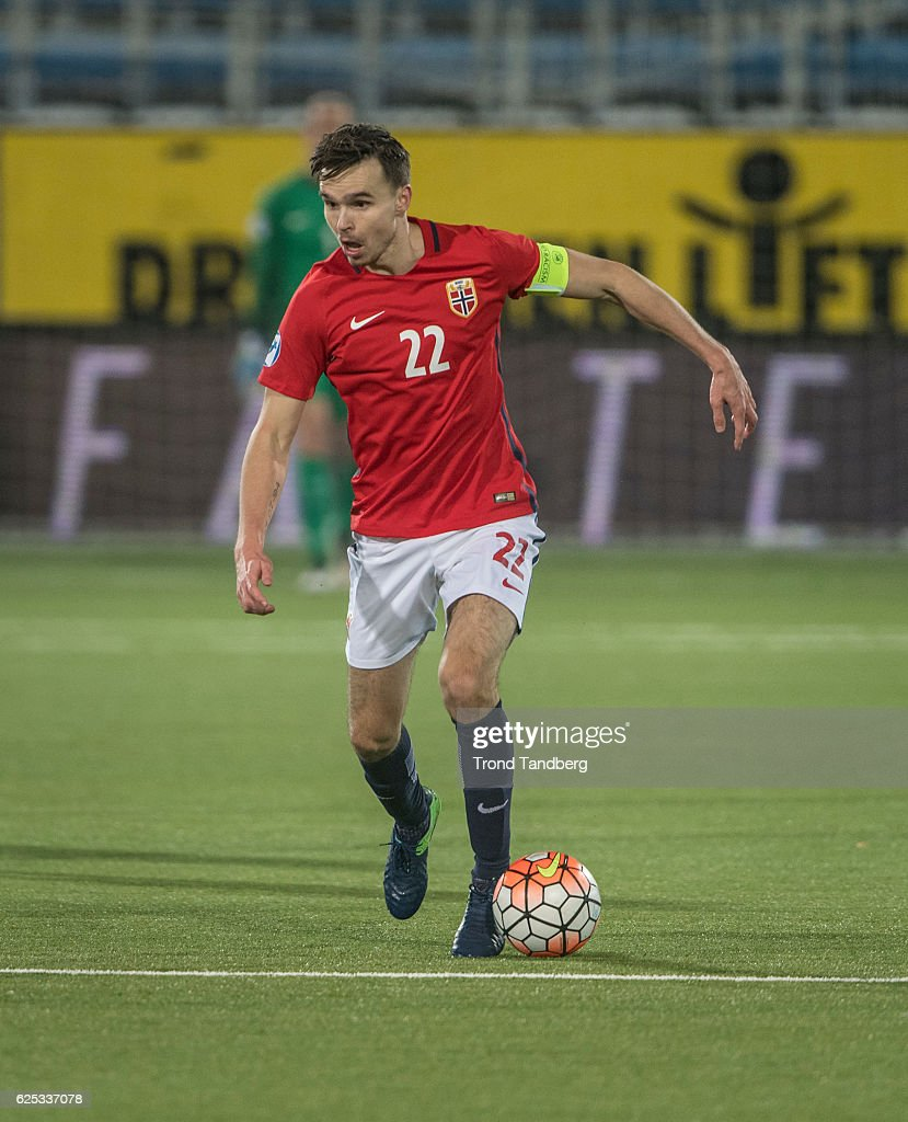 Ole Kristian Selnaes of Norway during U-21-UEFA European Championship Play-Off Norway v Serbia at Marienlyst Stadion on November 15, 2016 in Drammen, Norway.