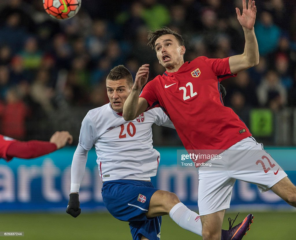Ole Kristian Selnaes of Norway, Sergej Milinkovic Savic of Serbia during U-21-UEFA European Championship Play-Off Norway v Serbia at Marienlyst Stadion on November 15, 2016 in Drammen, Norway.