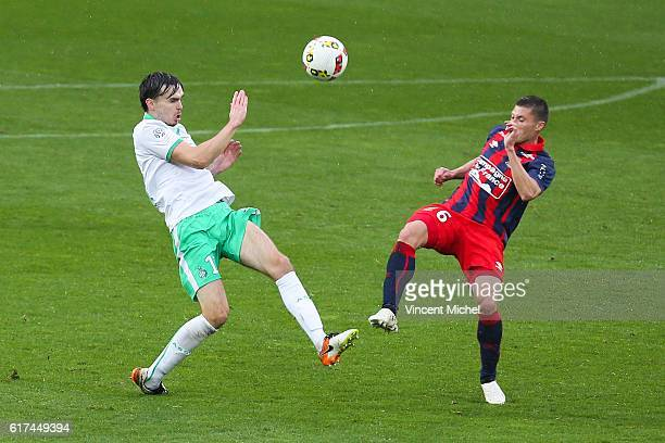 Ole Kristian Selnaes of Saint Etienne and Jonathan Delaplace of Caen during the Ligue 1 match between SM Caen and AS Saint-Etienne at Stade Michel...