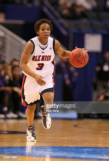 Ole Miss' Ashley Awkward bringing the ball up the court in the second half at the Hartford Civic Center in Hartford CT on March 18 2007 Awkward...