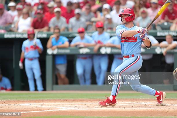 Ole Miss catcher Cooper Johnson hits a home run in Game 2 of the NCAA Super Regional between the Ole Miss Rebels and the Arkansas Razorbacks on June...