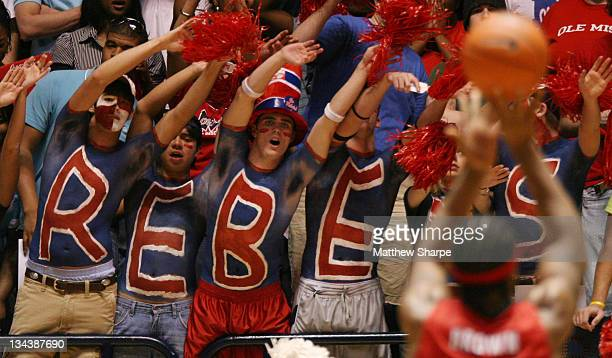 Ole Miss fans taunt a Georgia player at the free throw line at Tad Smith Coliseum in Oxford, Mississippi on February 21, 2007. Ole Miss defeated...