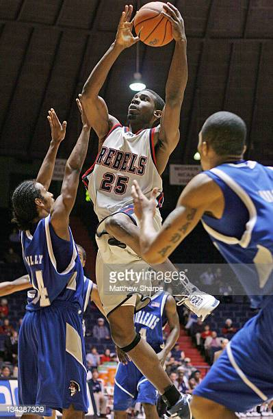 Ole Miss forward Trey Hampton goes up for the shot against New Orleans at the Tad Smith Coliseum in Oxford, Mississippi on November 30, 2006. Ole...