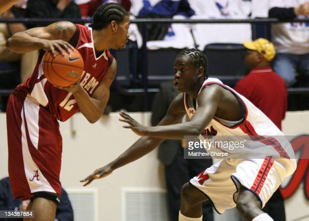 Ole Miss guard Eniel Polynice guards Alabama Forward Alonzo Gee at the Tad Smith Coliseum in Oxford Mississippi on Saturday February 10 2007 Ole Miss...