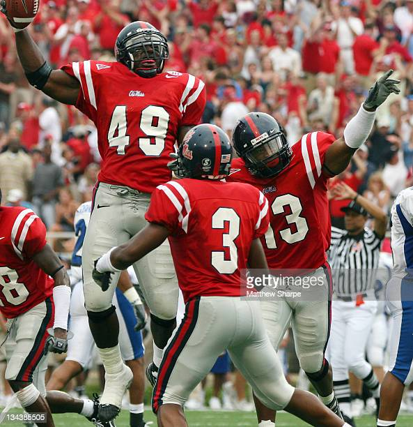 Ole Miss linebacker Patrick Willis celebrates after recovering a fumble against Memphis at VaughtHeminway Stadium on September 3 2006