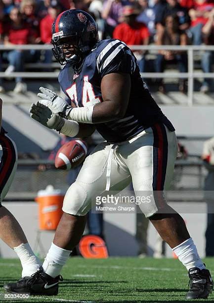 Ole Miss offensive lineman Michael Oher in action against Mississippi State at VaughtHemingway Stadium in Oxford Mississippi on Saturday November 25...
