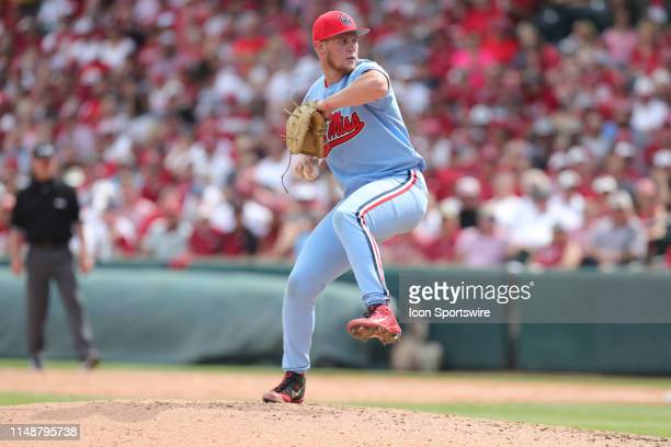Ole Miss pitcher Houston Roth pitches in Game 2 of the NCAA Super Regional between the Ole Miss Rebels and the Arkansas Razorbacks on June 09 at...